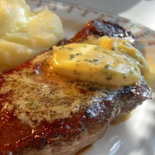 *Pan Grilled Steaks with Bearnaise Butter*.