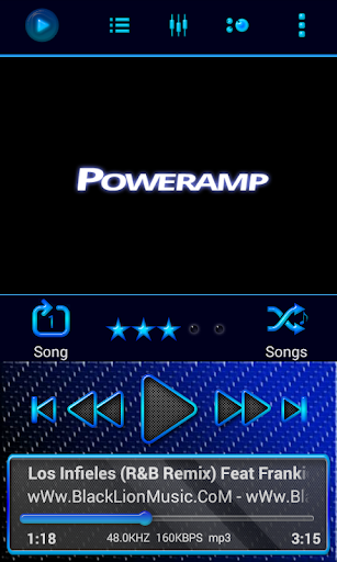 Poweramp Skin Blue Neon