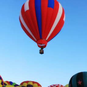 Early up and away by Debbie Sodeman-Roelle - Transportation Other ( hot air balloon, washington, winter, festival, winthrop )