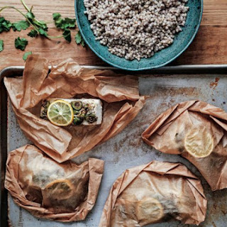 Halibut Pockets With Spiced Olive Tapenade.
