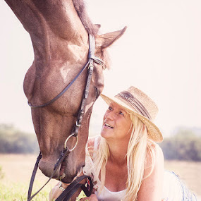 Best Friends by Ian Taylor - Animals Horses ( love, equine, pet, sunny, horse, together, portrait, hat )