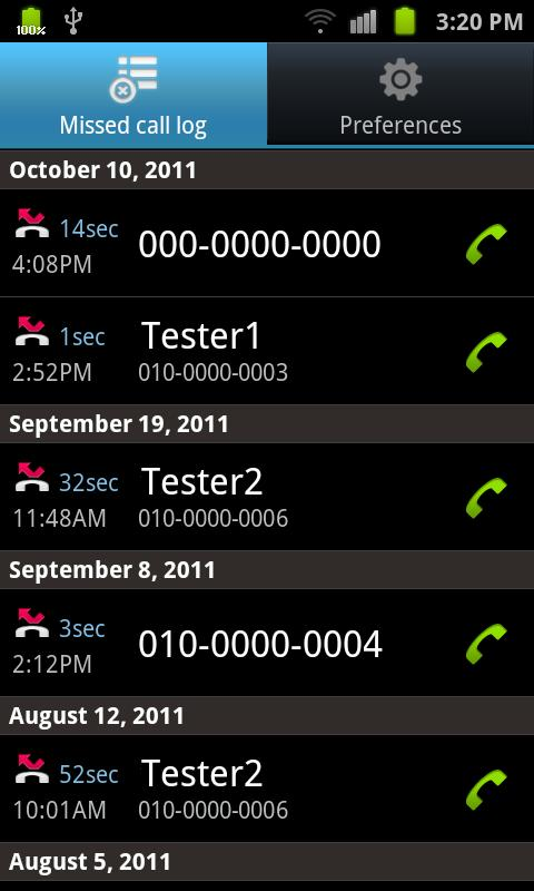 Missed call - I know it - screenshot