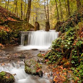 Hidden haven by Arif Ünsal - Landscapes Waterscapes ( arifunsal, autumn, cascade, foliage, falls, fall, waterfall, trees, forest, stones, leaves )