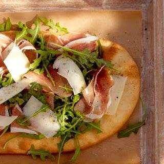 Flatbread with Serrano Ham, Petit Basque and Arugula