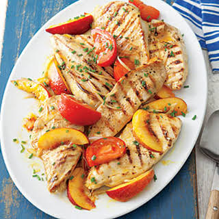 Grilled Chicken with Curried Peaches.