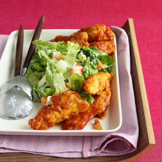 Buffalo Chicken Strips With Blue Cheese Salad.