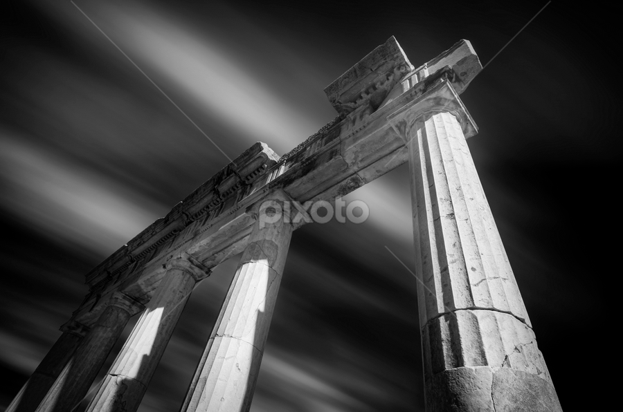 Ancient Greece by George Papapostolou - Black & White Buildings & Architecture ( george papapostolou, ancient, black and white, greece, long exposure, nikon )