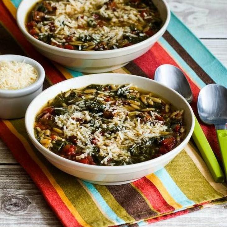 Italian Sausage and Kale Soup Recipe with Whole Wheat Orzo (or broken spaghetti)