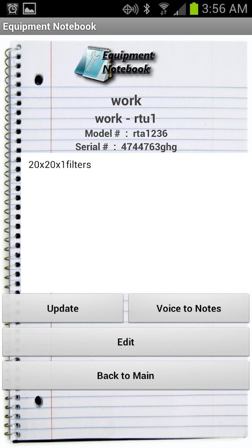 HVAC Equipment Notebook Free - screenshot