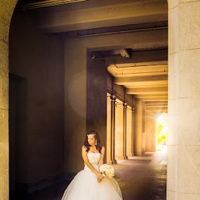 Bride in architecture by Shirley Cohen - Wedding Bride