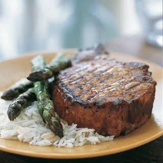 Grilled Hoisin Pork Chops and Asparagus.