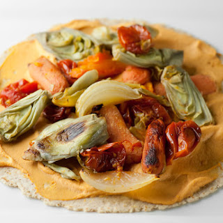 Roasted Veggie Wraps with Red Pepper Hummus.