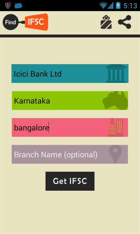 Find Bank IFSC Code India - screenshot