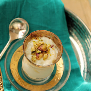 Creamy Rice Pudding infused with Orange Blossom Water & Cardamom.