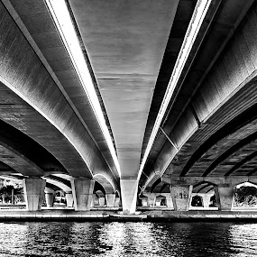 Under the Bridge by Barry Ooi - Black & White Buildings & Architecture ( mill point photos )