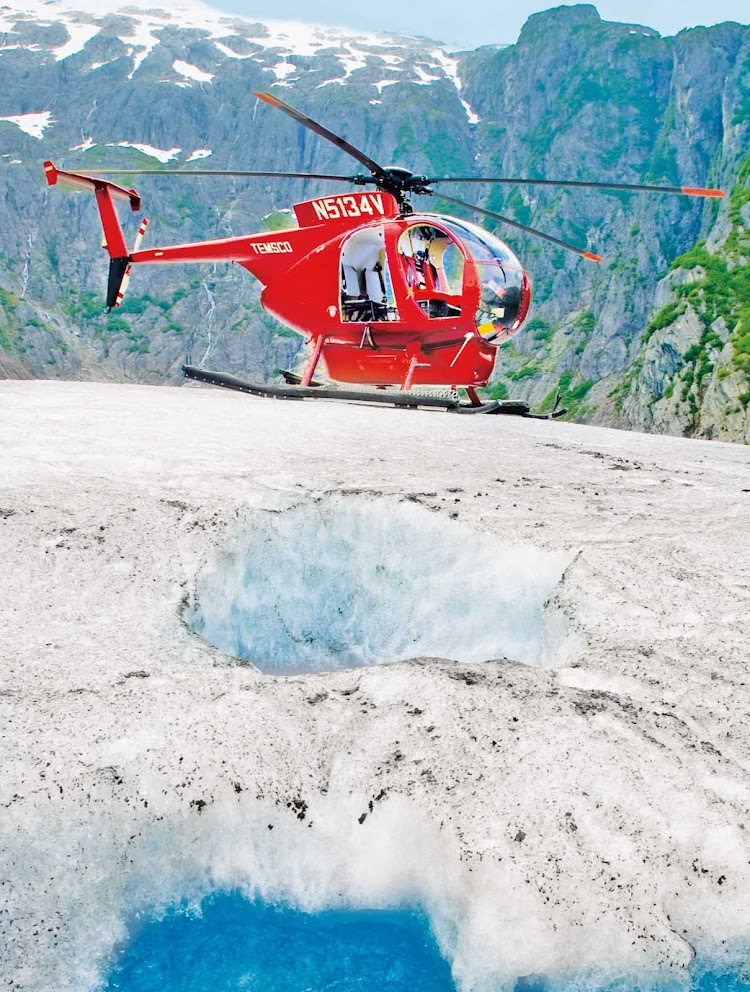 Helicopter tours take Princess Cruise passengers to glaciers.