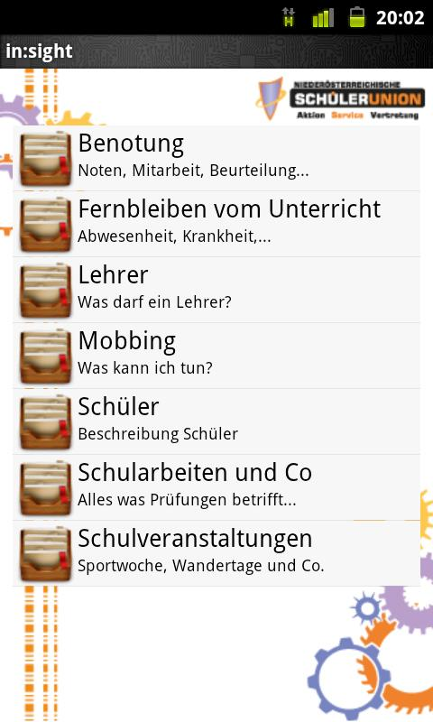 in sight die Schulrechts APP - screenshot