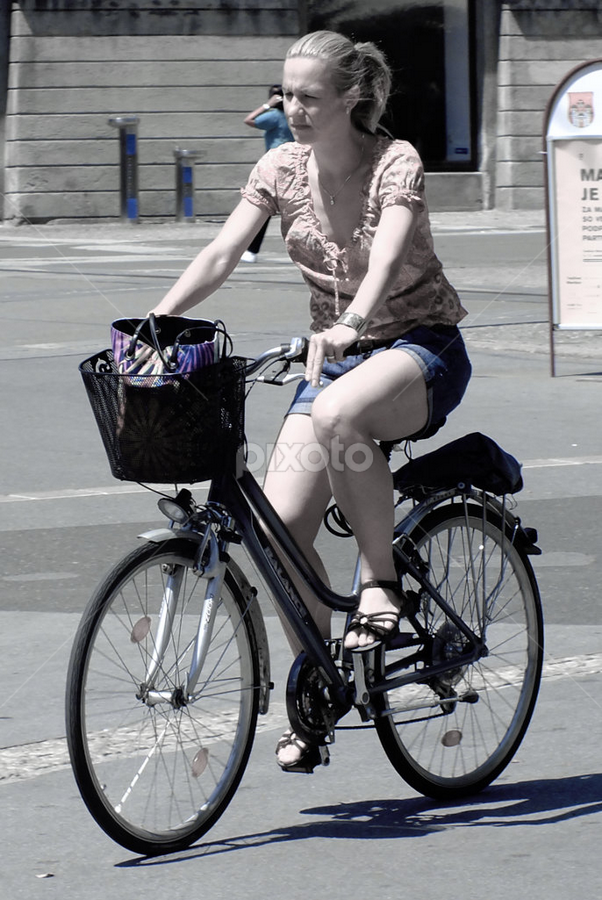 blue jeans by Renato Dibelčar - Transportation Bicycles ( girl, blue, woman, outdoor, street, bicycle )