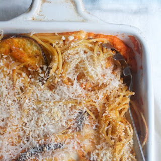 Baking Sheet Spaghetti with Roasted Peppers & Eggplant.