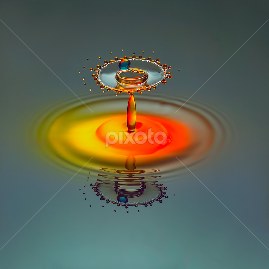 Roulette by Ganjar Rahayu - Abstract Water Drops & Splashes ( abstract, orange, macro, red, splash, waterdrop, blue, yellow,  )