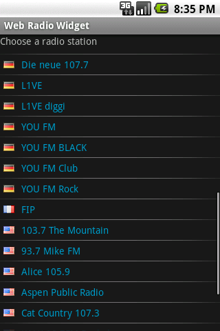 Web Radio Widget - screenshot