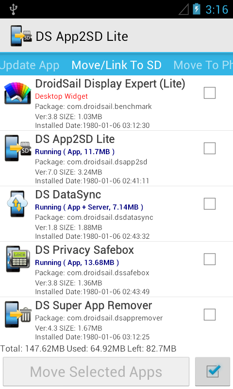 DS Super App2SD Lite- screenshot