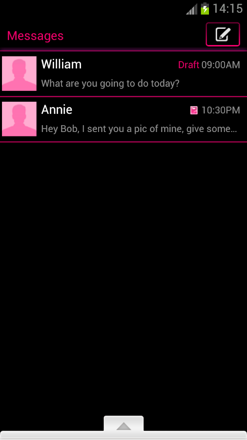GO SMS Pro Theme Pink Neon- screenshot