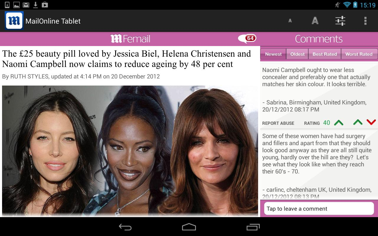 Daily Mail Online Tablet- screenshot