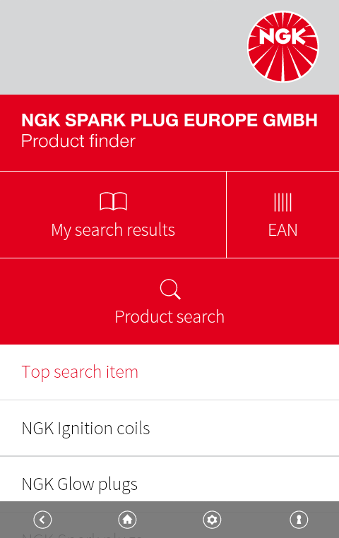 NGK EU Product finder- screenshot