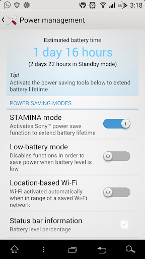Xperia Stamina Mode LED