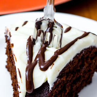 Chocolate Gingerbread Bundt Cake with Cream Cheese Frosting.