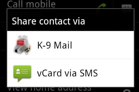 vCard via SMS - screenshot thumbnail