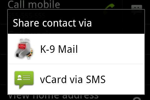 vCard via SMS - screenshot