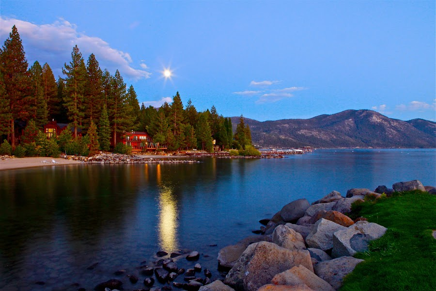 Summer Evening Moonrise, Lake Tahoe by Geoff McGilvray - Landscapes Travel ( calm, moon, peaceful, moonbeam, lake, travel, landscape, high sierras, sierras, serene, summer, evening, lake tahoe )