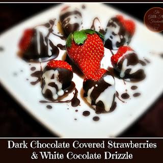 Dark Chocolate Covered Strawberries & White Chocolate Drizzle Recipe