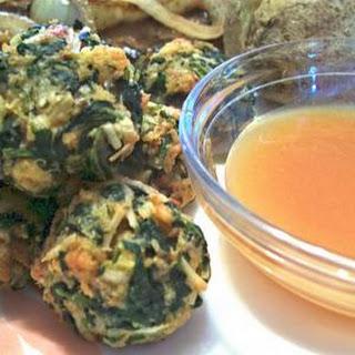 Spinach Balls with Mustard-Sabayon Sauce