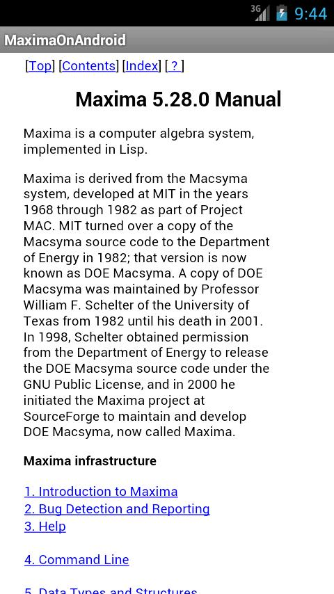 Maxima on Android- screenshot