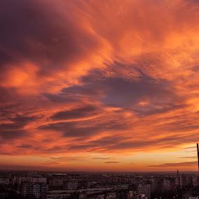 Amazing December sunset by Matei Edu - Landscapes Sunsets & Sunrises ( clouds, bucharest, sunset, romania, architecture, cityscape, sunrise, golden hour,  )