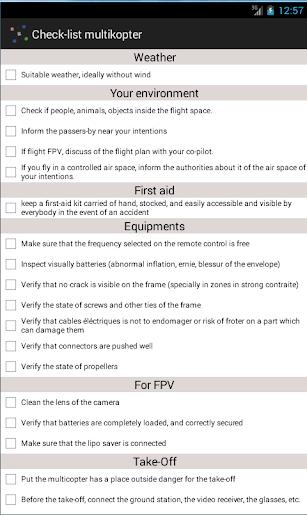 Checklist multirotor screenshot for Android