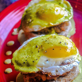 Panko Crusted Bean & Chorizo Patty, Poached Eggs, Poblano Hollaindaise