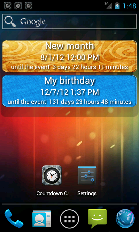 Countdown calendar- screenshot