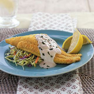 Baked Bayou Catfish with Spicy Sour Cream Sauce.