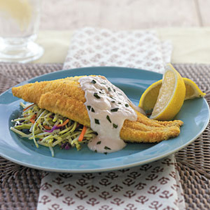 Baked Bayou Catfish with Spicy Sour Cream Sauce