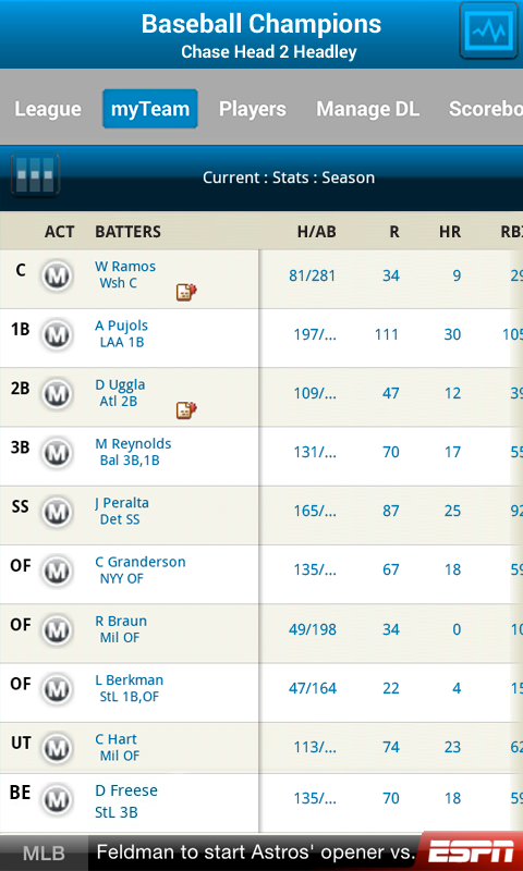 ESPN Fantasy Baseball - screenshot