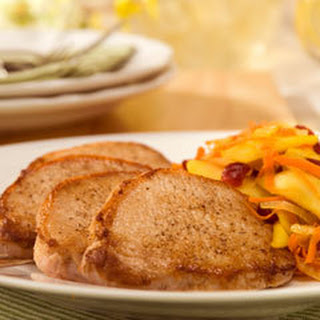 Pork With Warm Apple-carrot Slaw