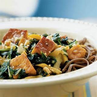 Stir-Fried Tofu and Spring Greens with Peanut Sauce.