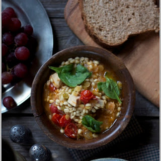 Chicken and Barley Soup with Roasted Cherry Tomatoes.