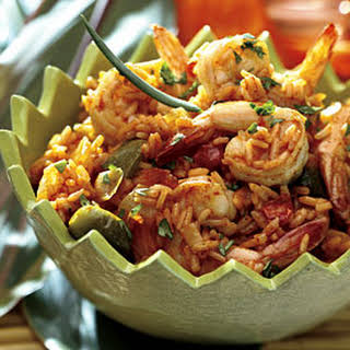 Spicy Rice with Shrimp and Peppers.