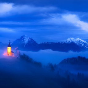 Fullmoon Blues by Aleš Komovec - Landscapes Mountains & Hills ( clouds, hills, mountains, moon, church, blue, fog, slovenia, jamnik, morning, light, mist,  )