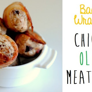Bacon Wrapped Olive Chicken Meatballs.